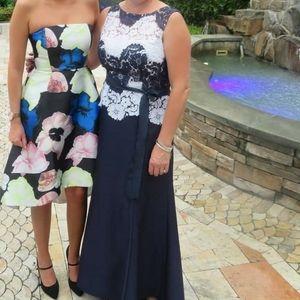 Tahari Navy and Lace Dress